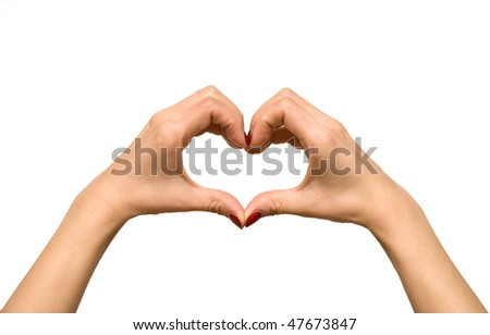 Heart shape formed with woman's hand isolated on white background - stock photo
