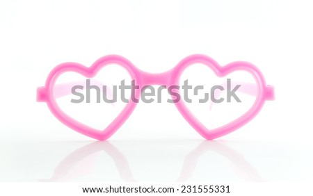 heart shape frame glasses on white background