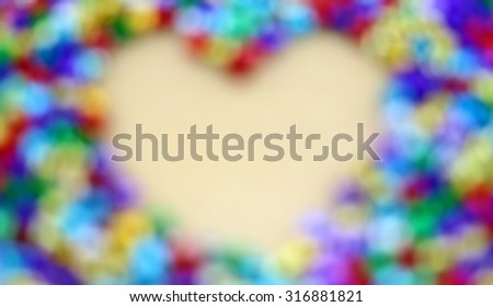 heart shape from bokeh, abstract light bokeh blurred background - stock photo