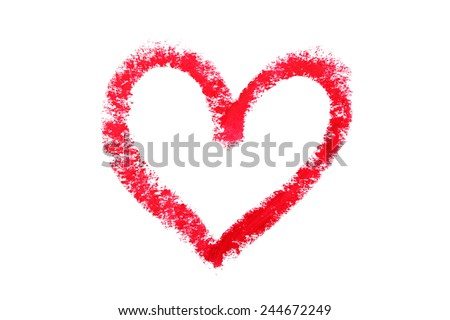 Heart shape from lipstick isolated on white - stock photo
