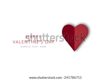 Heart shape from paper Happy Valentines day, holiday card, isolated on white background - stock photo