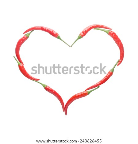 Heart shape from red chili isolated on white background - stock photo