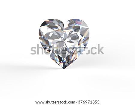 Heart shape Gemstone on white. Jewelry background. Diamond. - stock photo