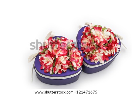 heart shape gift boxes with clipping path