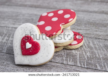 Heart shape gingerbread on wooden background,from above - stock photo