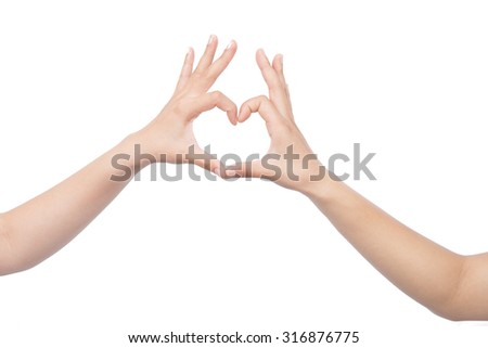 heart shape hand isolated on white. - stock photo