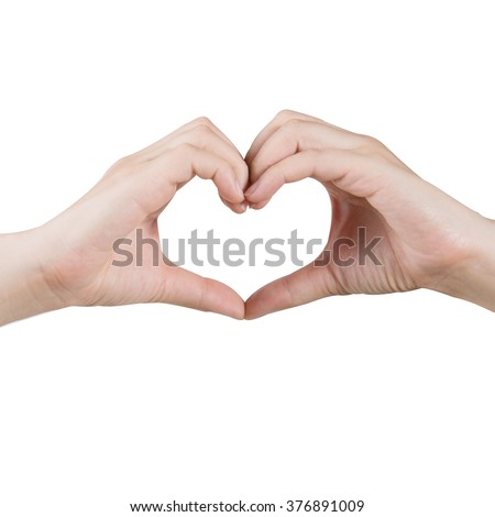heart shape hand isolated on white with clipping path - stock photo