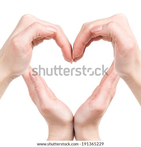 Heart shape. Human hands forming a heart shape