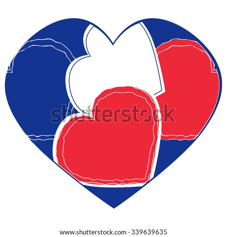 Heart Shape in French Flag Colors on White - Solidarity with France Concept