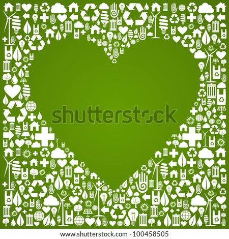 Heart shape in green icons set background. - stock photo
