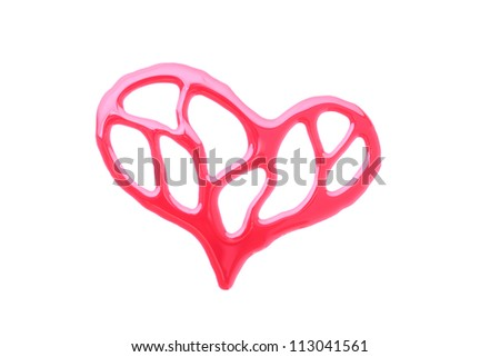 Heart shape ink of blood isolated - stock photo