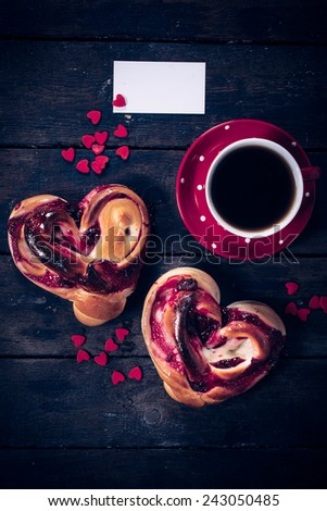 Heart shape jelly pastry and cup of coffee with blank card - stock photo