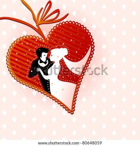 heart shape lacy card with wedding couple in love - for vector version see image no. 80288398
