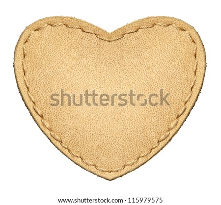Heart shape leather label, isolated. - stock photo