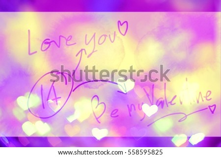 heart shape light bokeh with gradient background and word love you 14 be my valentine