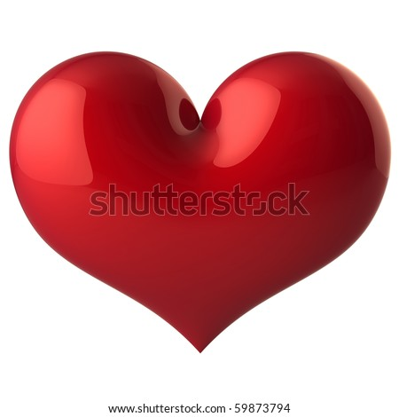 Heart shape Love symbol classic red. Saint Valentine's day greeting card February 14 design element. Healthy life blood beat icon. 3d render isolated on white background - stock photo