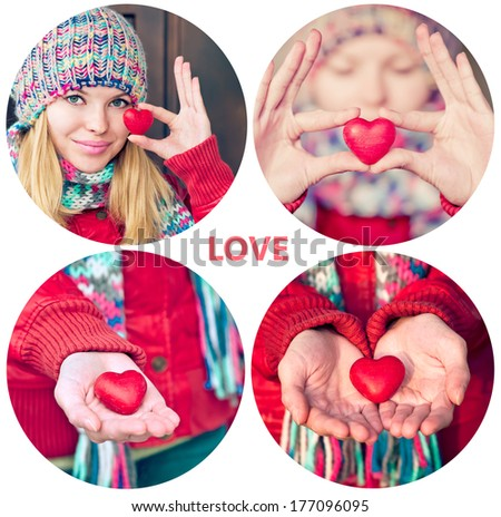 Heart shape love symbol in woman hands Valentines Day holiday romantic greeting people relationship concept collage set - stock photo
