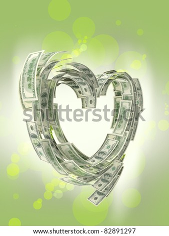 Heart shape made by dollars isolated - stock photo