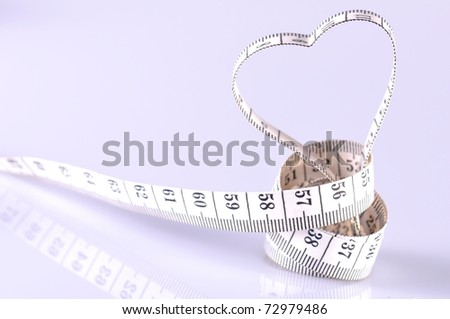heart shape made by tapeline - stock photo