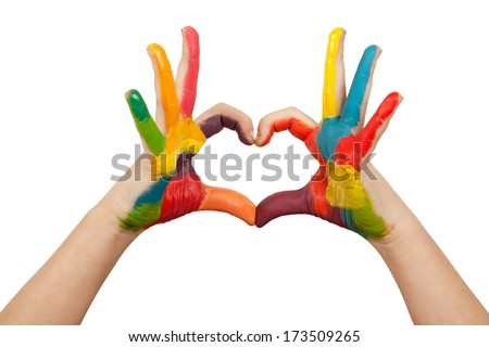 Heart shape made from kids painted hands. Isolated on white - stock photo