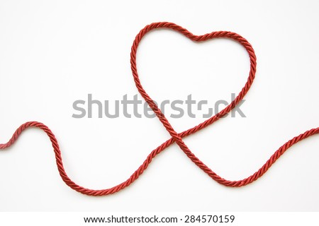 Heart Shape Made From Red Cord - stock photo