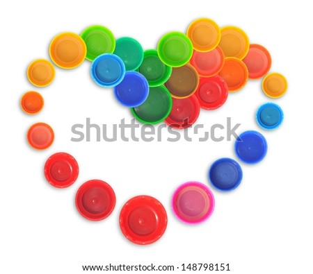 Heart shape made of bottle cap - stock photo