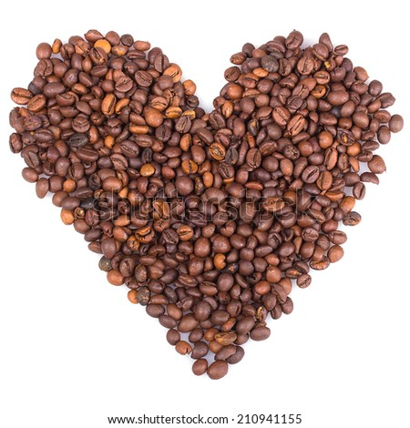 Heart Shape Made Of Coffee Beans