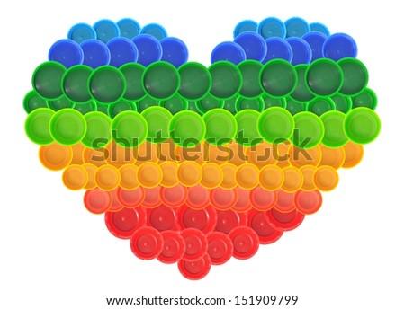 Heart shape made of plastic bottle cap - stock photo