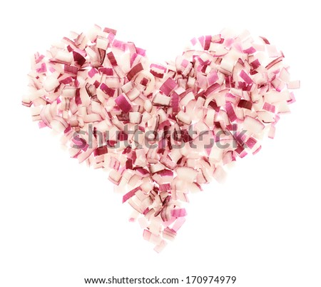 Heart shape made of red onion pieces isolated over white background - stock photo