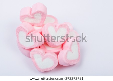 Heart shape marshmallow on white background Marshmallow