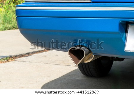 heart shape metal exhaust outdoor - stock photo