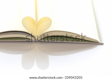 Heart shape of book pages. Soft focused