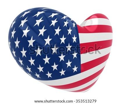 Heart shape of USA flag - stock photo