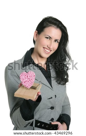 heart shape on mouse trap valentines woman metaphor - stock photo