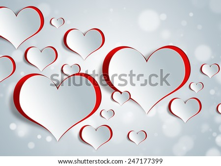Heart shape on paper craft for texture background in valentine day