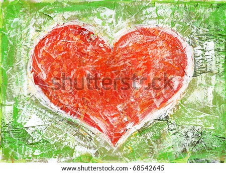 Heart shape painted collage background. - stock photo