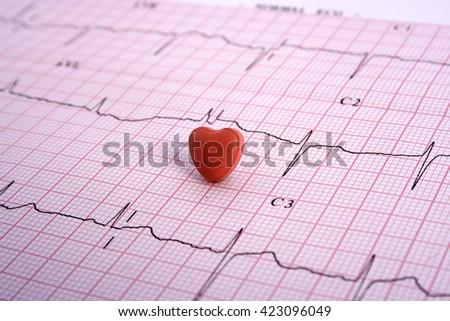 Heart shape pill on Electrocardiogram- ECG print - stock photo