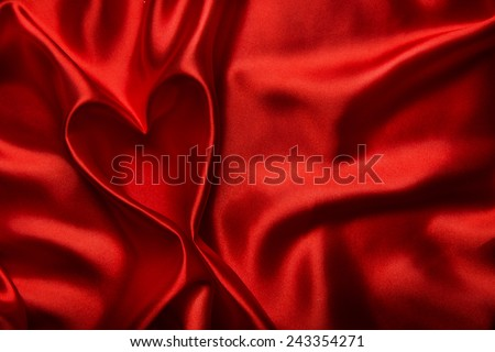Heart Shape, Red Silk Cloth Background, Fabric folds as Abstract Valentine Day Blank Backdrop - stock photo