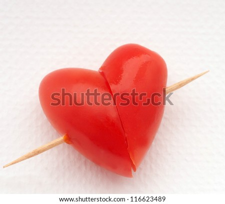 heart shape red  tomato - stock photo