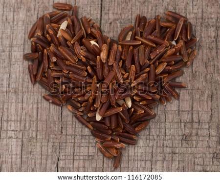 heart shape rice - stock photo