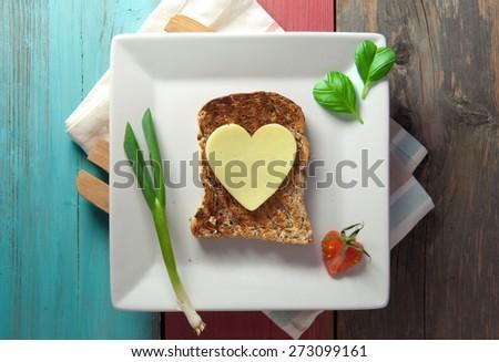 Heart shape sandwich - stock photo