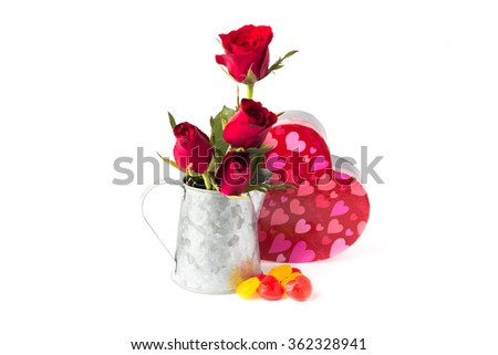 Heart shape valentine box handmade, candy and red roses in jar o - stock photo
