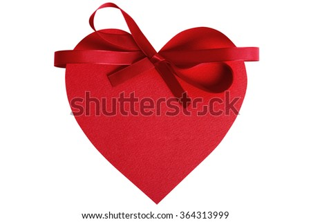 Heart shape Valentine gift tag, red ribbon decoration, isolated on white  - stock photo