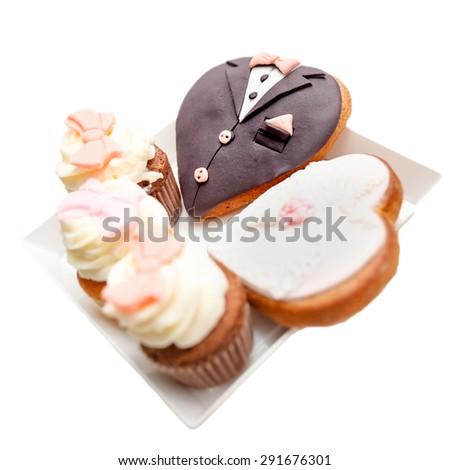 Heart shape wedding cake isolated - stock photo