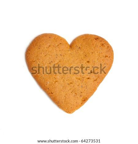 heart shape xmas spice cake isolated on white background - stock photo