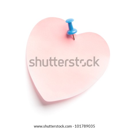 Heart-shaped adhesive note isolated on white background - stock photo