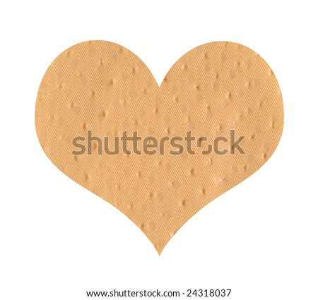 Heart shaped bandage - stock photo