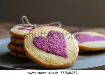 Heart shaped biscuits - stock photo