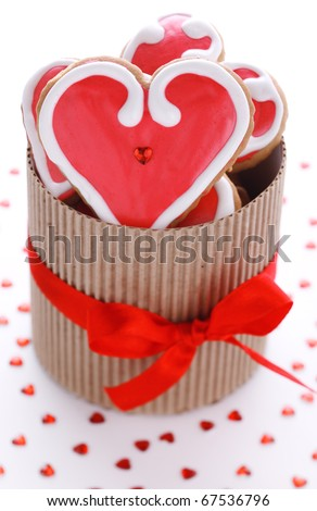 Heart-shaped biscuits for Valentine's Day in gift box - stock photo