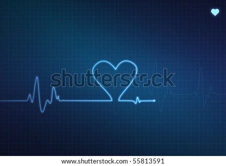 Heart-shaped blip on a medical heart monitor (electrocardiogram) with blue background and heart symbol - stock photo
